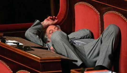 Sleeping in the Italian Parliament