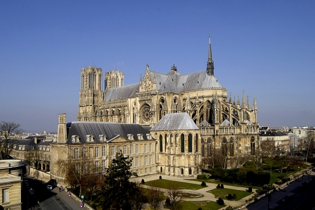 The beautiful cathedral of Reims, France