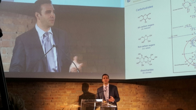 Christophe Schilling, CEO of Genomatica during his speech at the Grand Opening of Mater Biotech's plant in Bottrighe di Adria, Italy
